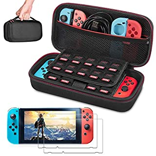 Carrying Case for Nintendo Switch Case with 2 Pack Screen Protector - Younik Hard Shell Travel Case Protective Cover Bag with 19 Game Card Slots for Nintendo Switch Console & Accessories, Black