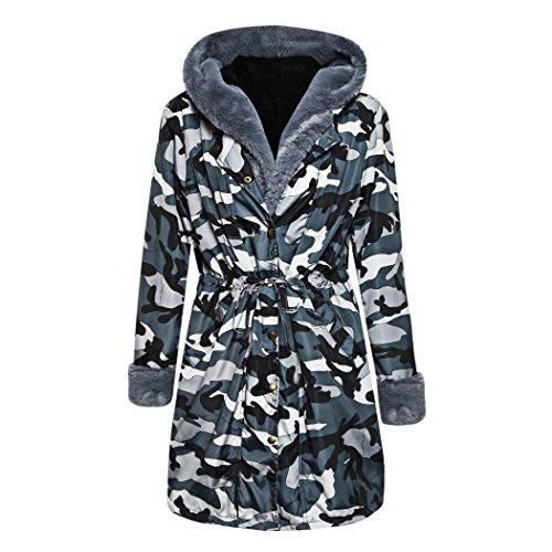 mioim Femme Manteau Hiver Long Jacket Elegant Veste Camouflage Fausse Fourrure Chaud Coat Blouson Parka Veston Gris