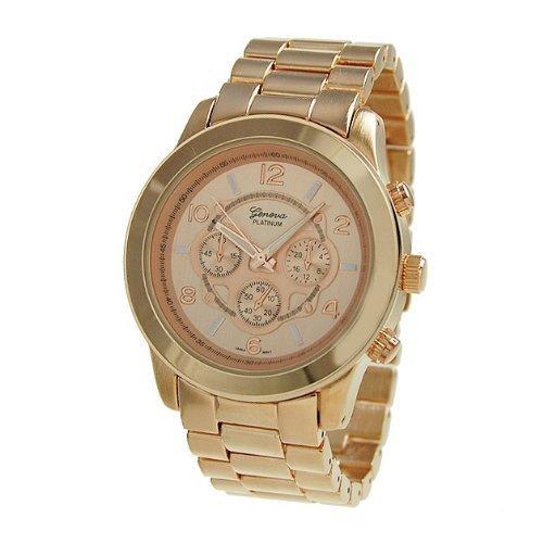 Womens Platinum Link Geneva - Geneva Platinum 9158 Women's Decorative Chronograph-style Link Watch-RGOLD