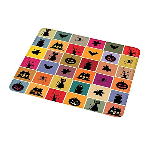 Mouse Pad Custom Vintage Halloween,Bats Cats Owls Haunted Houses in Squraes Halloween Themed Darwing Art,Personalized Design Non-Slip Rubber Mouse pad 9.8