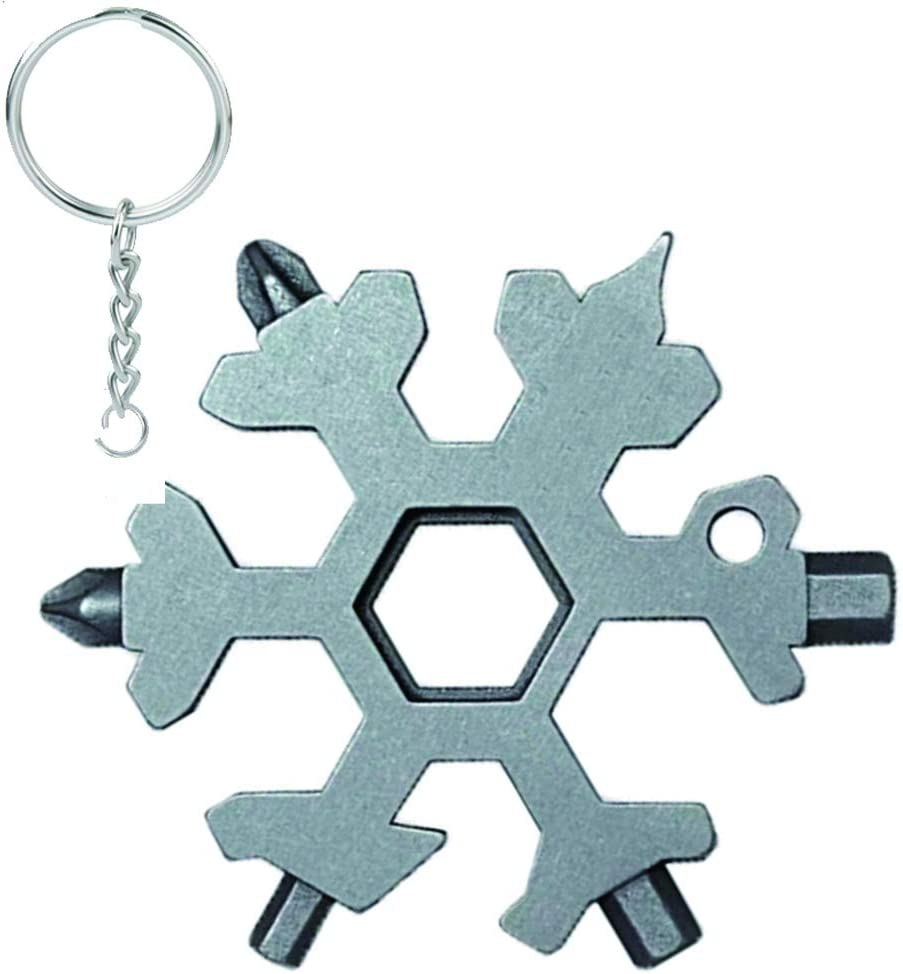19 In 1 Stainless Tool Multi Tool Portable Snowflake Shape Key Chain Screwdriver