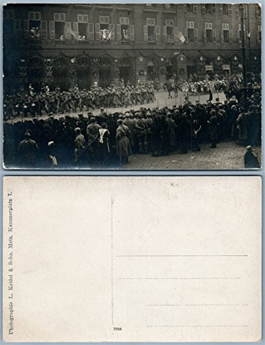 MILITARY PARADE WWI METZ FRANCE ANTIQUE REAL PHOTO RPPC AMERICAN & FRENCH FLAGS