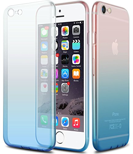 iPhone 6 Case,CLONG iPhone 6S Cover Colorful Clear Shell Slim Case Translucent Impact Resistant Flexible TPU Soft Bumper Case Protective Shell for Apple iPhone 6/6S 4.7 inch(Gradient blue)