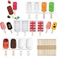 Silicone Popsicle Molds Set - Ice Pop Mold Silicone 3 Pack 4 Cavity Reusable Homemade Ice Cream Mold with 50 P