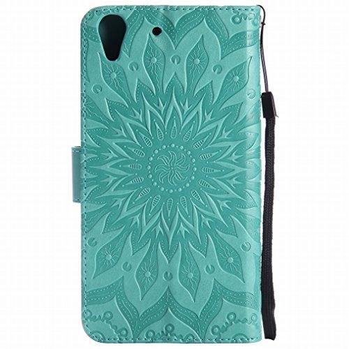 LEMORRY Huawei Honor Holly 3 / Y6 II Custodia Pelle Cuoio Flip Portafoglio Borsa Sottile Bumper Protettivo Magnetico Morbido Silicone TPU Cover Custodia per Huawei Y6 II, Fiorire Verde