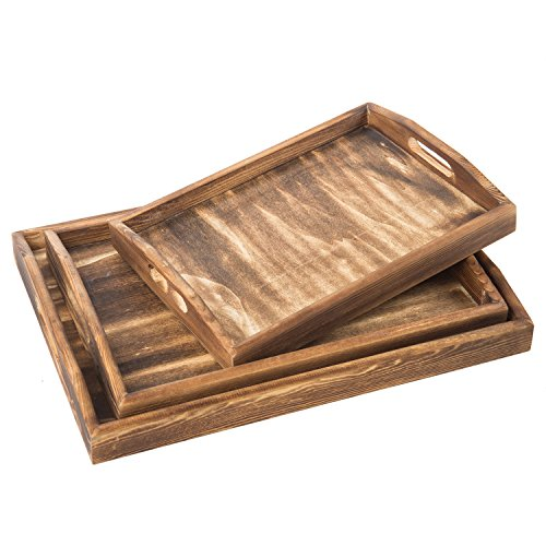 Butler Tray (Set of 3 Torched Wood Rectangular Nesting Breakfast, Coffee Table / Butler Serving Trays, Dark Brown)