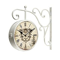 Joveco Vintage Style Iron Wall Clock with Scroll Wall Mount (Roman Numerals)