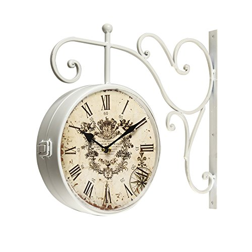 Joveco Vintage Style Iron Wall Clock with Scroll Wall Mount (Roman Numerals) For Sale