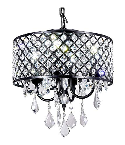 - New Galaxy 4-Light Antique Black Round Metal Shade Crystal Chandelier Pendant Hanging Ceiling Fixture