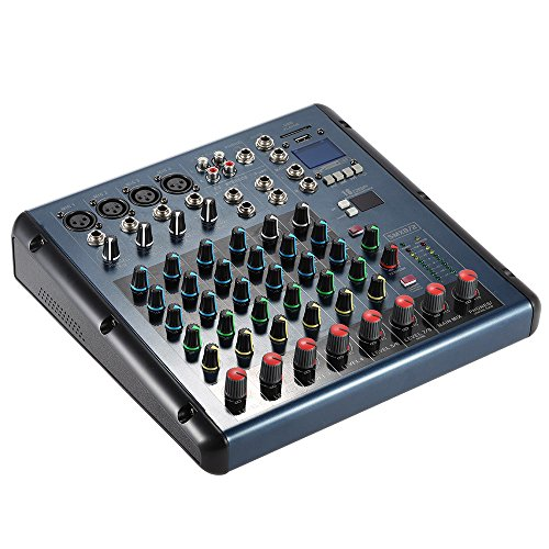 ammoon 8 Channel 3-Bands Equalizer Digital Mic Line Audio LED Mixer Mixing  Console with 48V Phantom Power USB MP3 Player for Recording DJ Stage