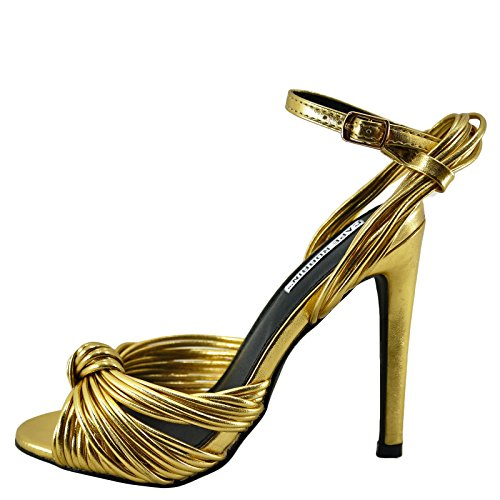 ROBBIN Gold CAPE Heel Knotted Womens Alza Toe Metallic 38 Open gqdwfSq