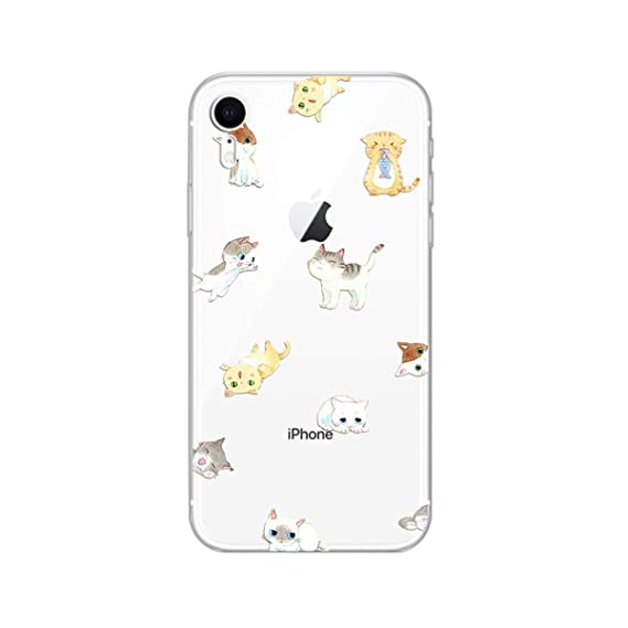 buy online b9191 04540 iPhone XR Case,Blingy's New Cute Cat Style Transparent Clear Protective  Soft TPU Rubber Case Compatible for iPhone XR (Cat Group)