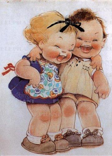 Little Girls Laughing - Birthday Greeting Card