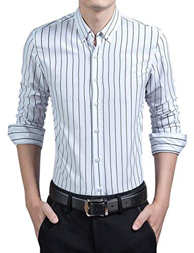 Dress Shirt Stripe (KIMIST Men's Casual Business Vertical Striped Button Down Long Sleeve Dress Shirts (X-Large, White))