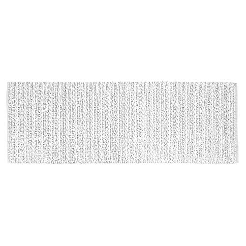 mDesign Soft 100% Cotton Luxury Hotel-Style Rectangular Spa Mat Rug, Plush Water Absorbent for Bathroom Vanity, Bathtub/Shower, Machine Washable, Braided Design, Long Runner, 60″ x 21″ – White