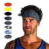 Cooling Headbands Moisture Wicking Womens Sweatband & Sports Headband | Workouts Cardio Running Yoga (Grit Gray)