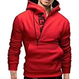 HOT ! Ninasill Mens Autumn And Winter Long Sleeve Hoodie Hooded Sweatshirt Tops Jacket Coat Outwear (XL, Red)