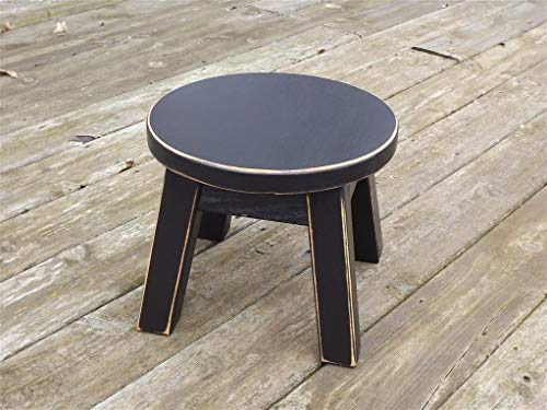 Black/wooden/ wood step stool/foot stool/distressed/ solid/round top/riser