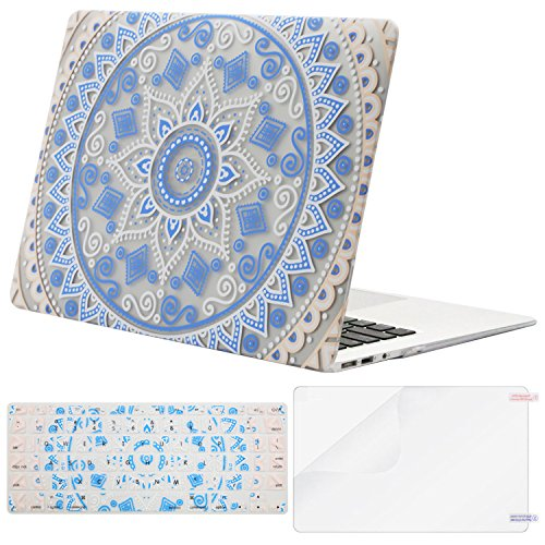Mosiso Plastic Pattern Hard Case with Keyboard Cover with Screen Protector for MacBook Air 13 Inch (Model: A1369 and A1466), Pink Blue Mandala