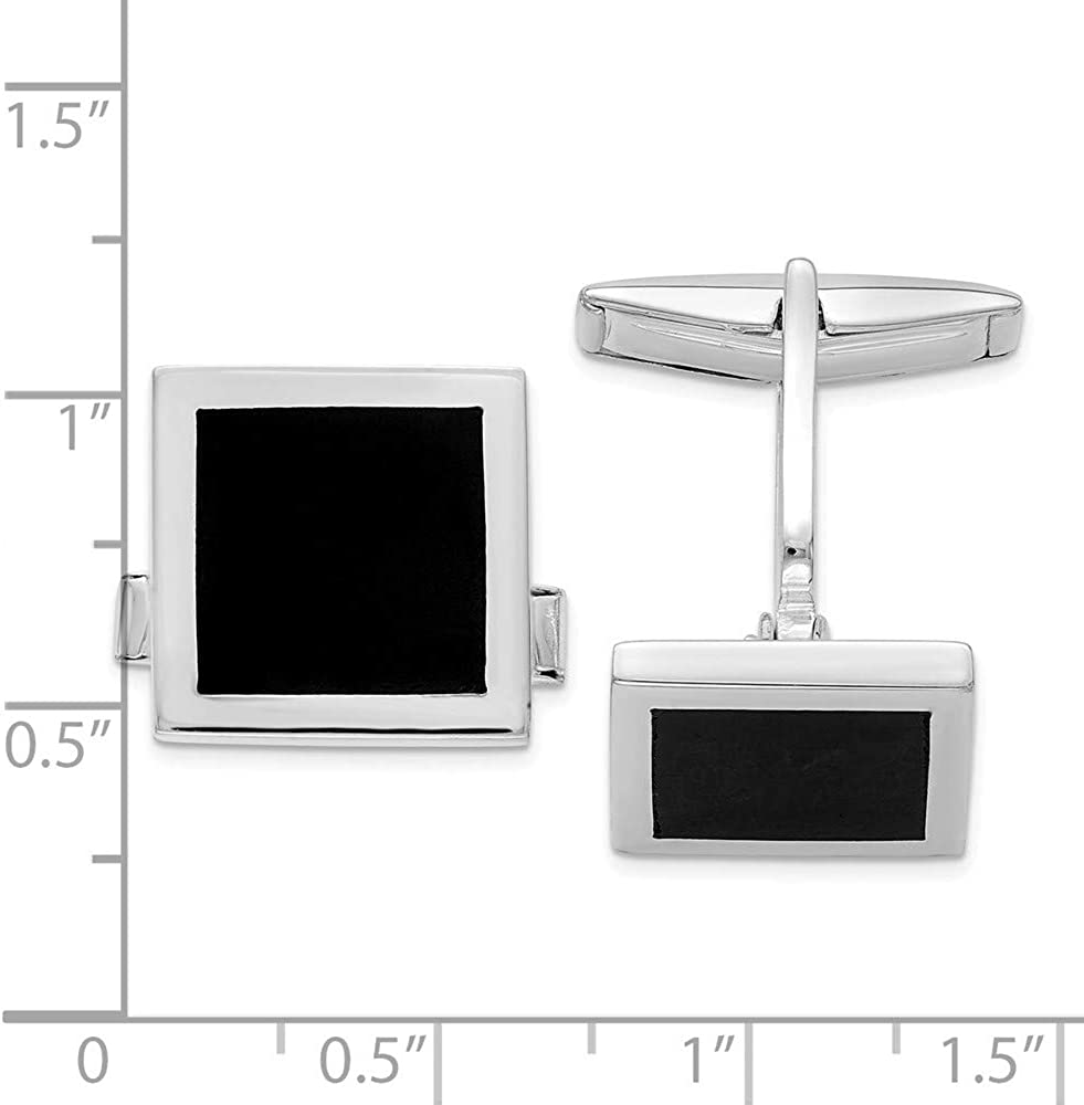 Select Gifts Sterling 925 Solid Silver and Onyx Oval Cufflinks Engraved Box