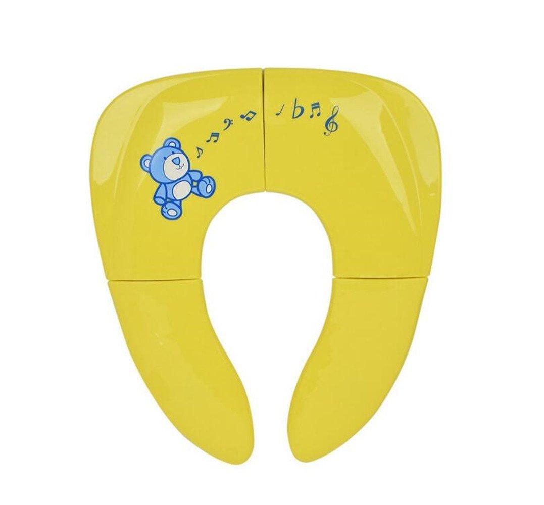 Emwel Asiento Plegable Inodoro Portátil para Niños Bebés, Plegable Orinal Baño Viaje Reductor Plegable de Aseo para Los Niños de Viajes - Color Amarillo