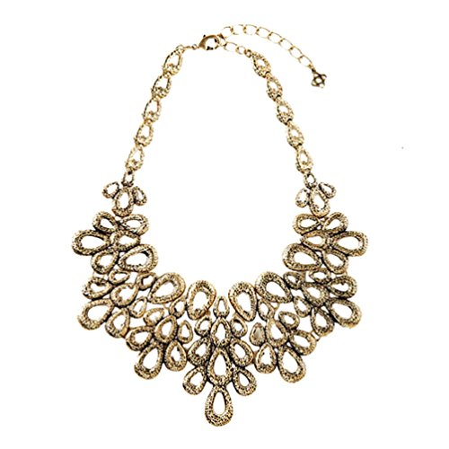 Sweetime Women's Retro Exaggrate Short Hollow-Out Waterdrops Bib Statament Alloy Necklace (Child Dolphin Costume Homemade)