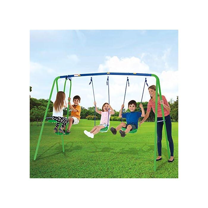 513wT2QpreL Columpio doble Aktive Sports con balancín de 2 asientos y 2 columpios tradicionales, permite jugar a la vez a 4 niños mayores de 3 años Medidas columpio montado: 280 cm de ancho, 140 cm de profundo, 179 cm de alto, asientos: 35,5x18x8,5 cm, soporta 180 kg de peso máximo Cómodo y seguro, asientos ergonómicos y cuerdas resistentes de 114 cm de largo para sujetar los asientos y el balancín a la estructura del columpio