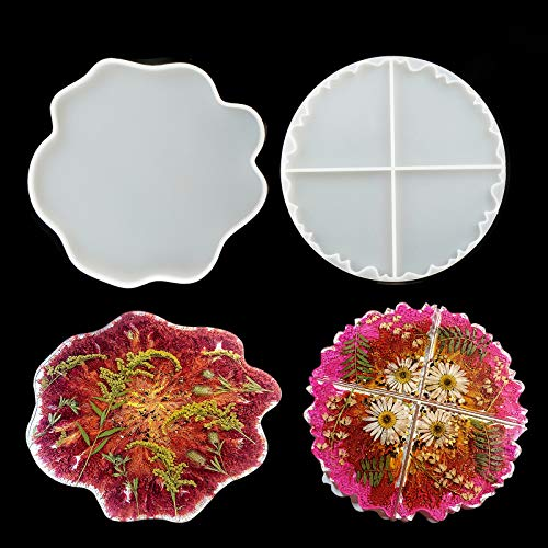 LET'S RESIN Resin Coaster Molds, Geode Agate Resin Coaster Molds, Coaster Molds Epoxy Resin Molds for Making Resin Geode, Cups Mats, Home Decor