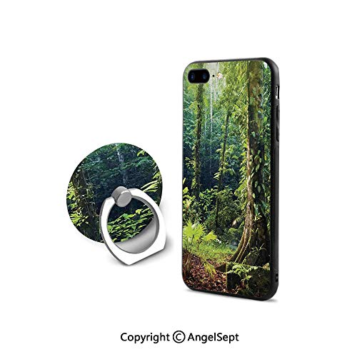 Protective Case Compatible iPhone 7/8 with 360°Degree Swivel Ring,Morning Sunbeam Shine Through Wild Forest Ivy on Trees Tranquility in Nature,Retail Packaging,Green Brown