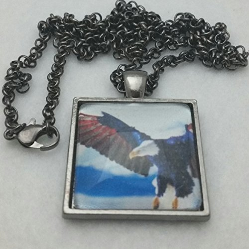 American Eagle Jewelry (American Eagle Art Pendant Red White Blue Jewelry Choice of Finish)