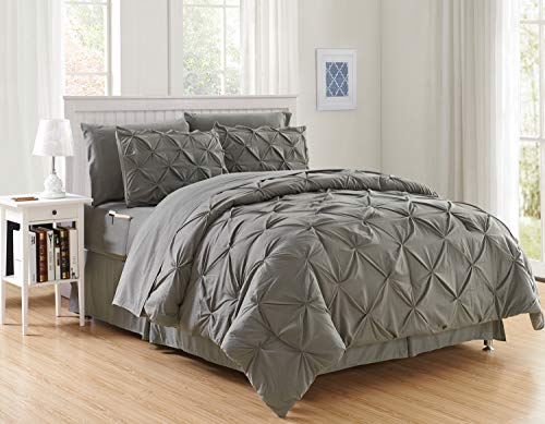 Luxury Best, Softest, Coziest 6-Piece Bed-in-a-Bag Comforter Set on Amazon! Elegant Comfort - Silky Soft Complete Set Includes Bed Sheet Set with Double Sided Storage Pockets, Twin/Twin XL, Gray