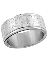 Surgical Steel 8mm Autism Awareness Jigsaw Puzzle Wedding Band Ring, sizes 8 - 14