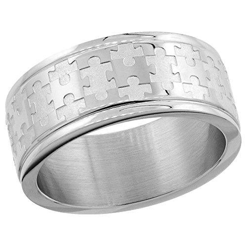 Surgical Stainless Steel 8mm Autism Awareness Jigsaw Puzzle Wedding Band Ring, size 9