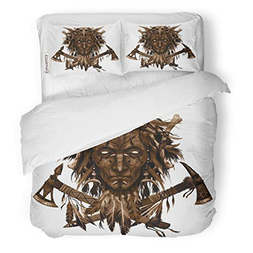 Semtomn Decor Duvet Cover Set King Size The Head Shaman American Indian Chief Two Crossed Tomahawks 3 Piece Brushed Microfiber Fabric Print Bedding Set Cover]()