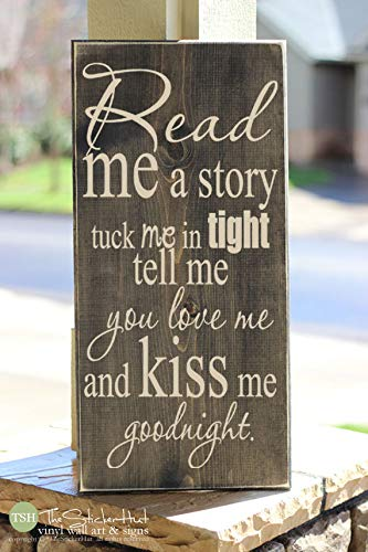 Boyce22Par Read Me A Story Tuck Me in Tight Tell Me You Love Me and Kiss Me Goodnight Sign Wood Sign Home Decor Saying Distressed Wooden Sign S62