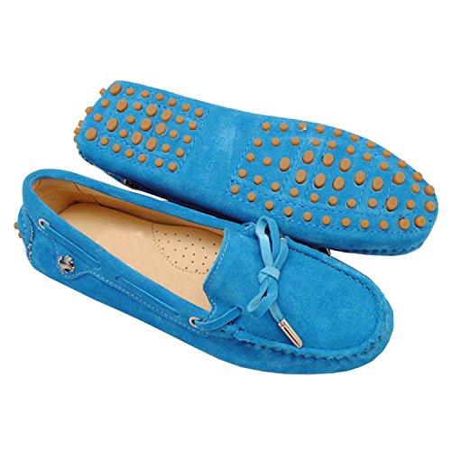 Appartements Mocassins Décontracté Confortable Pour Cuir Des Bateau Femme Daim Nœud Minitoo Bleu Fille En Chaussures qwOWtcAxvI