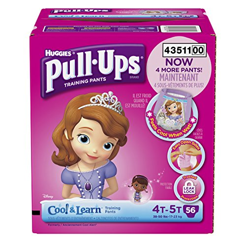 Huggies Pull-Ups Training Pants with Cool and Learn for Girls, Size 4T-5T, 56 Count -