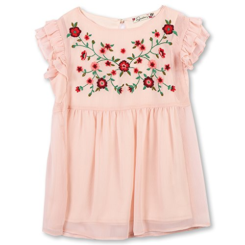 Speechless Girls' Big Flutter Sleeve Embroidered Top, Blush, S