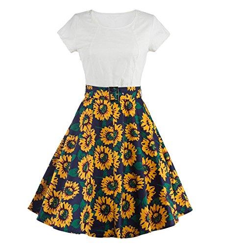 Woman A-Line Vintage Ruffle Sleeve Cuello Redondo Vestido Floral con Estampado Vestidos Elegantes de