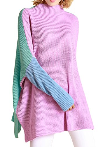 Mantos Eternity Women's Casual Oversize Knitted Loose Pullover Sweater Color-Block Top