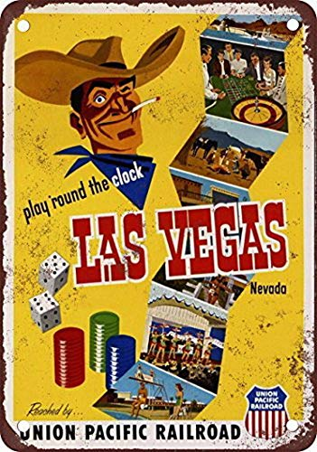 (Houseuse 1952 Union Pacific to Las Vegas Vintage Look Reproduction Metal Tin Sign 8X12 Inches)