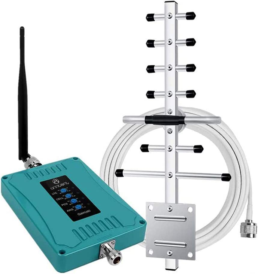 5-Band Cell Phone Signal Booster Repeater for Home and Office - Boosts Voice and Data for All Carriers - Supports Verizon AT&T T-Mobile Sprint - Cellular Repeater for Multi Users
