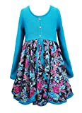Truly Me, Girls' Beautiful Cascading Ruffles Dress, 7-16 Years (14 Yrs, Blue Multi)