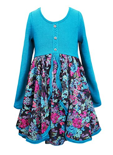 Girls Long Sleeve Floral Dress - 4
