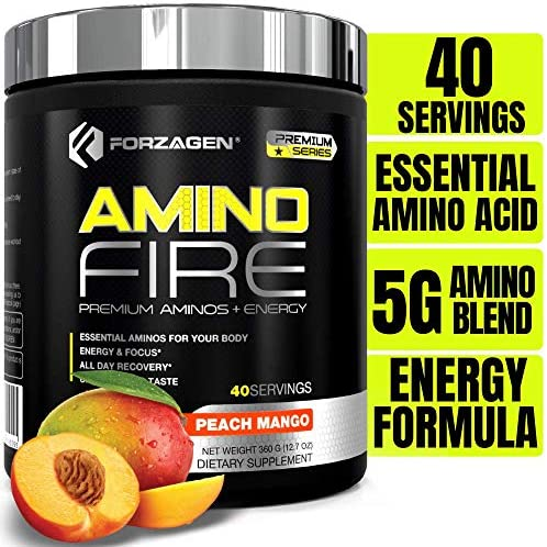Forzagen Amino Energy BCAA Amino Acids – Energy Focus Endurance Reaction 40 Servings of Amazing Flavors Amino Fire Peach Mango