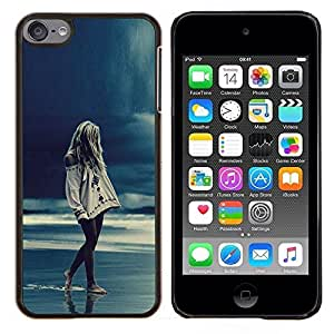 LECELL--Funda protectora / Cubierta / Piel For Apple iPod Touch 6 6th Touch6 -- Chica Rain Blue Ocean Piernas Noche --