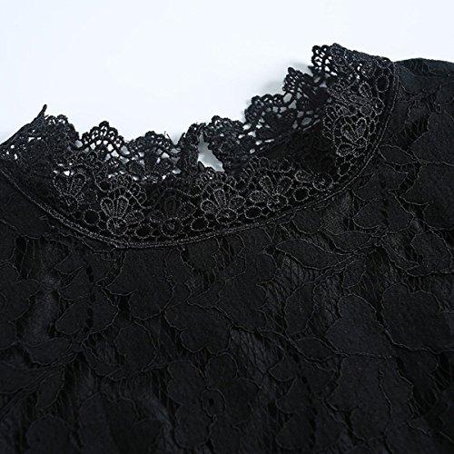 Otoño La Tamaño Temperamento Black El De Encaje Puro Color Moda Grande Vestido Jingliya EwY1TT