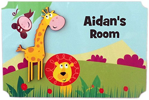 Sign Knight Room - Rikki Knight Aidan's Room - 3D Giraffe on Jungle - Door Sign Plaque with Name for Children and Baby's Bedroom
