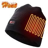 Autocastle Men Women Rechargeable Electric Warm Heated Hat Winter Battery Heat Skull Beanie Black