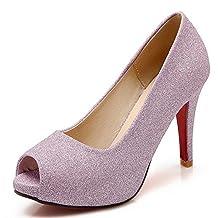 COOLCEPT Women Sexy Pumps Glitter Party Wedding High Heel Shoes Peep Toe